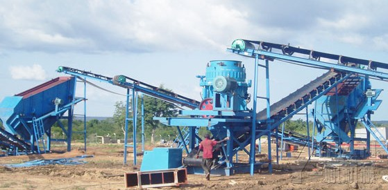 cone crusher on site